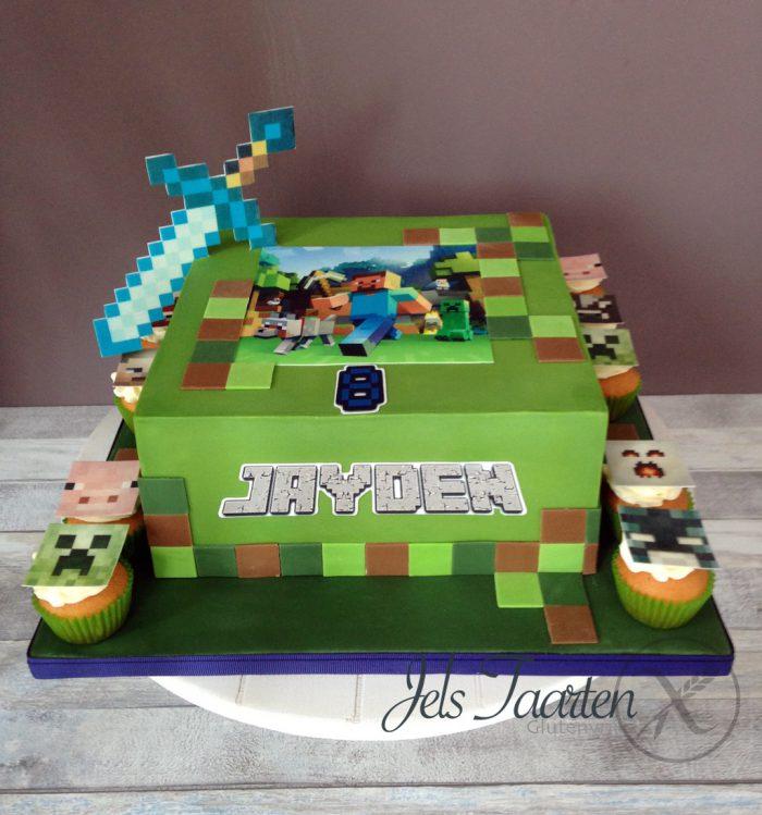 minecraft taart Minecraft taart voor Jayden   JelsTaarten.nl minecraft taart